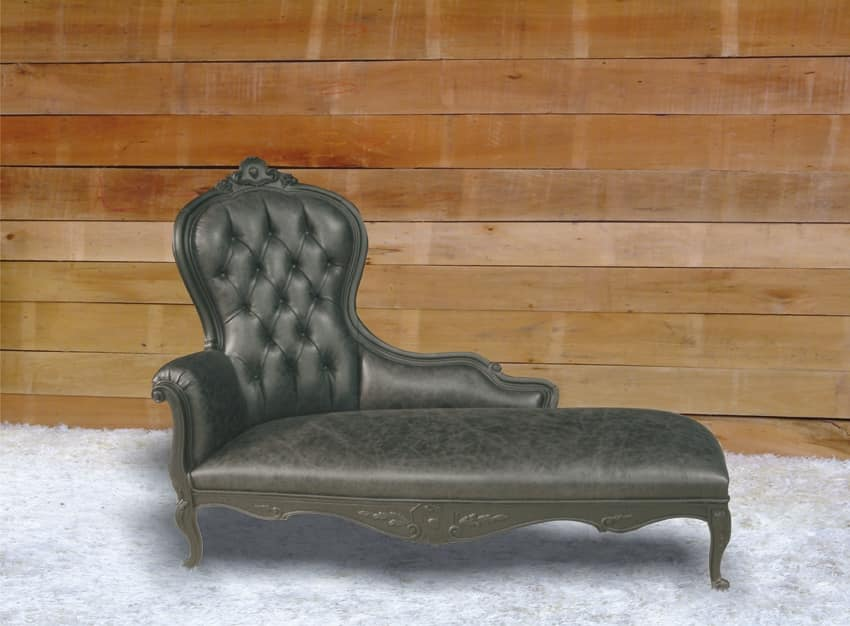 Carol leather, Baroque dormeuse, covered in leather