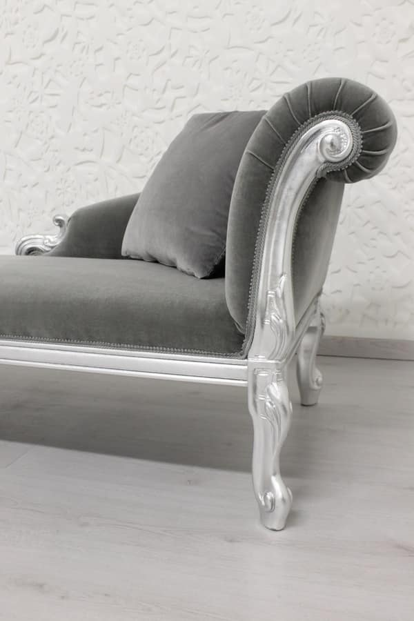 Cleopatra velvet, Liberty style chaise longue with beech wood frame