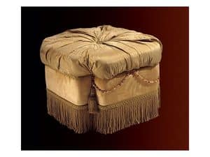 Nathalia pouf paradise, Upholstered pouf for living rooms and bedrooms, classic style