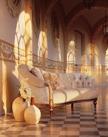 Olympia Dormeuse, Chaise longue hand-carved, silver trim