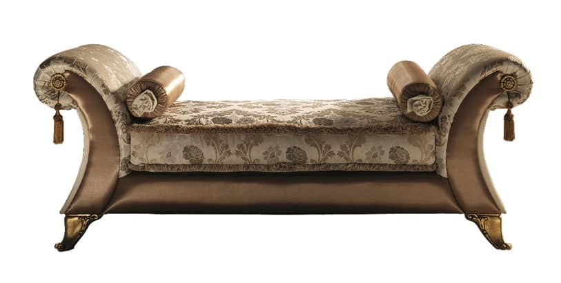 Sinfonia chaise longue Vittoria, Chaise longue with arched arms, classic luxury style