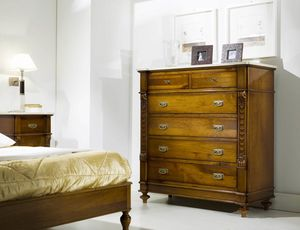 80-19 chest of drawers, Classic chest of drawers with marble top
