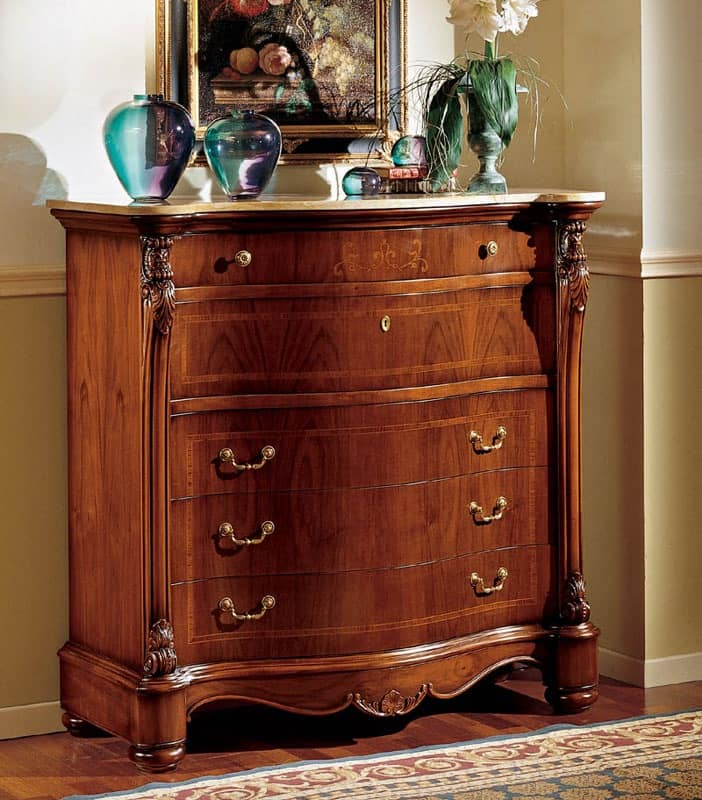 Althea chest of drawers, Classic dresser with dovetail interlocking drawers