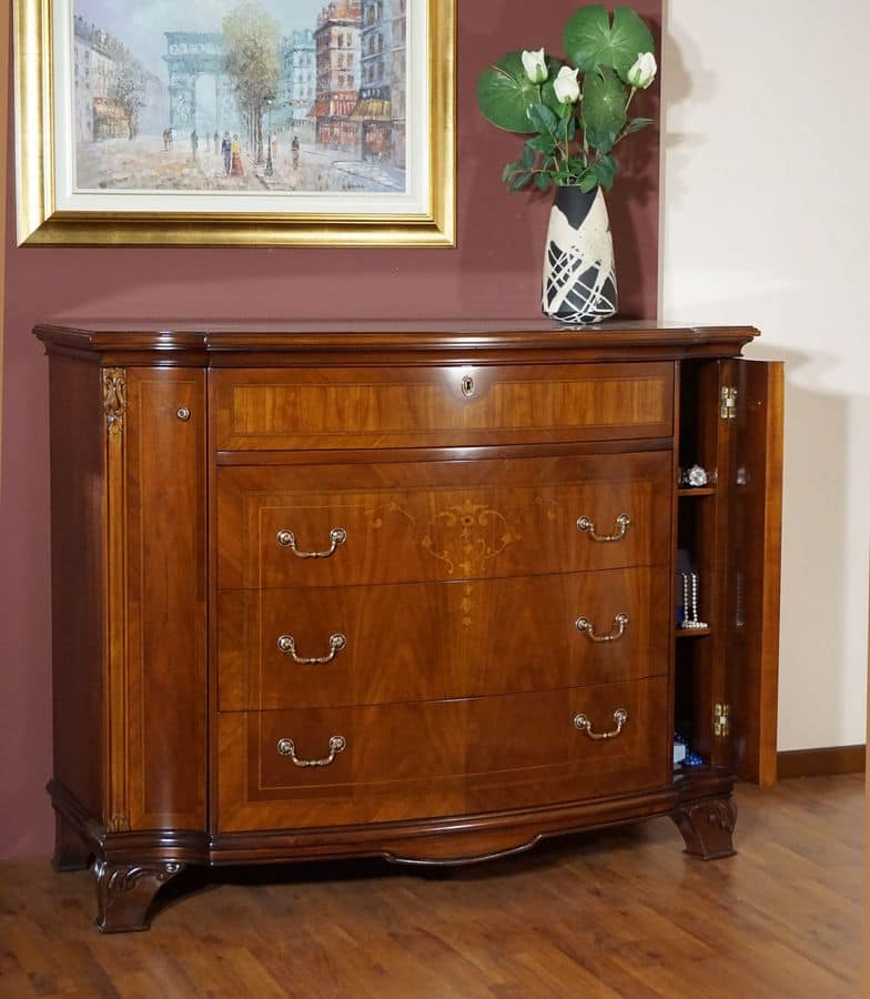 Anna chest of drawers, Walnut chest of drawers, carved and inlaid by hand, for bedrooms