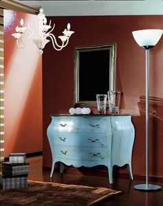 Arcobaleno chest of drawers, Classic chest of drawers, light blue lacquered