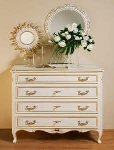 Art. 1063, Classic carved dresser, gold leaf finish and pickled