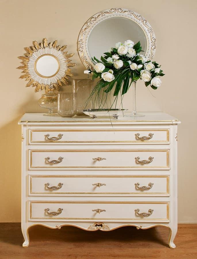 Art. 1063, Classic carved dresser, gold leaf finish and pickled
