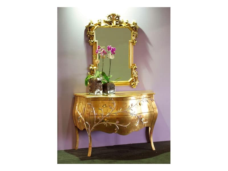 Art. 1603 Jasmine, Classic dresser, finishing gold leaf, for hotel suites