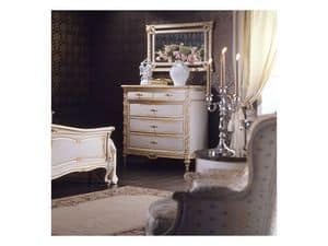 Art. 2001 chest of drawers, Classic chest of drawers, white finish on gold leaf, for luxury villas