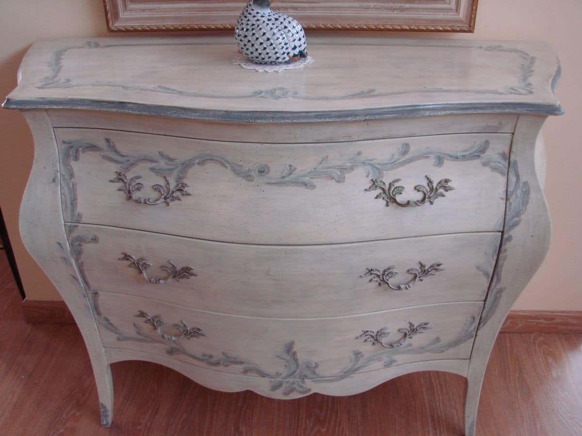 Art. 2107/Z, Dresser in classic luxury style, lacquered with decorations