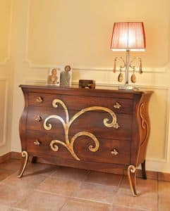 Art. 2302 Karina, Dresser with 3 drawers, antique finishes, for Bedrooms