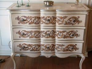 Art. 299 Expo', Luxury classic chest of drawers white lacquered with decorations