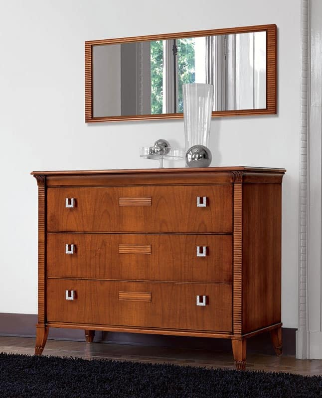 Vivre chest of drawers Art. 301, Walnut dresser, 3 drawers, with marble top