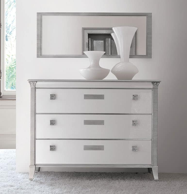 Vivre chest of drawers Art. 309, Dresser classic luxury, bright white lacquered