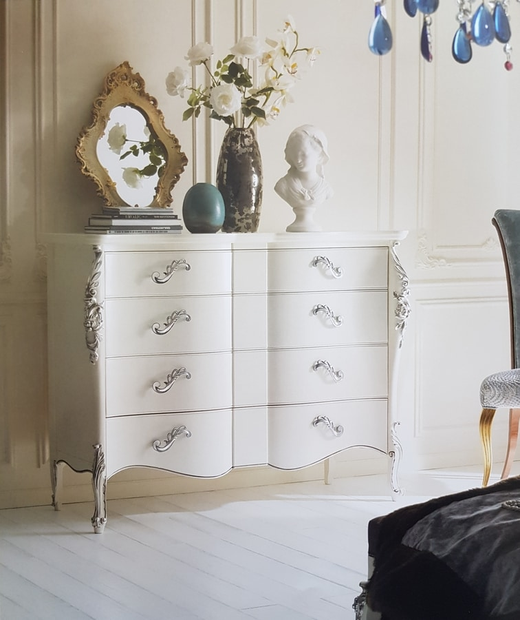 Art. 33CA, White lacquered dresser, with silver carvings