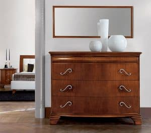 Vivre chest of drawers Art. 341, Luxury classic dresser in walnut with 4 drawers