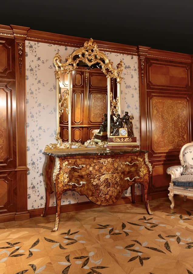 Art. 399, Inlaid chest of drawers for luxurious bedrooms, with golden mirror