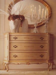 Art. 5335, Lacquered chests of drawers with gold trim for luxury bedrooms