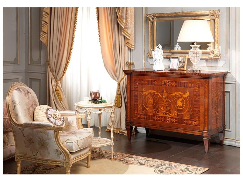 Art. 791 chest of drawers, Handmade chest of drawers, Maggiolini inlay, for luxury rooms