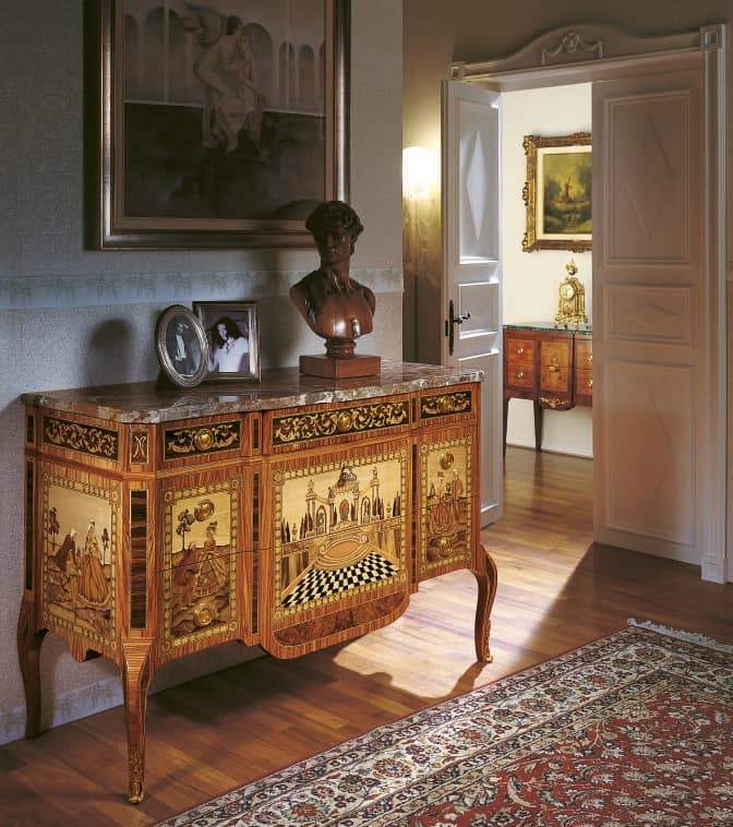 Art. 90, Classic luxury dresser, with marquetry, for entrance room