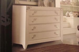 Art. IR092, White pearl lacquered chest of drawers for bedrooms