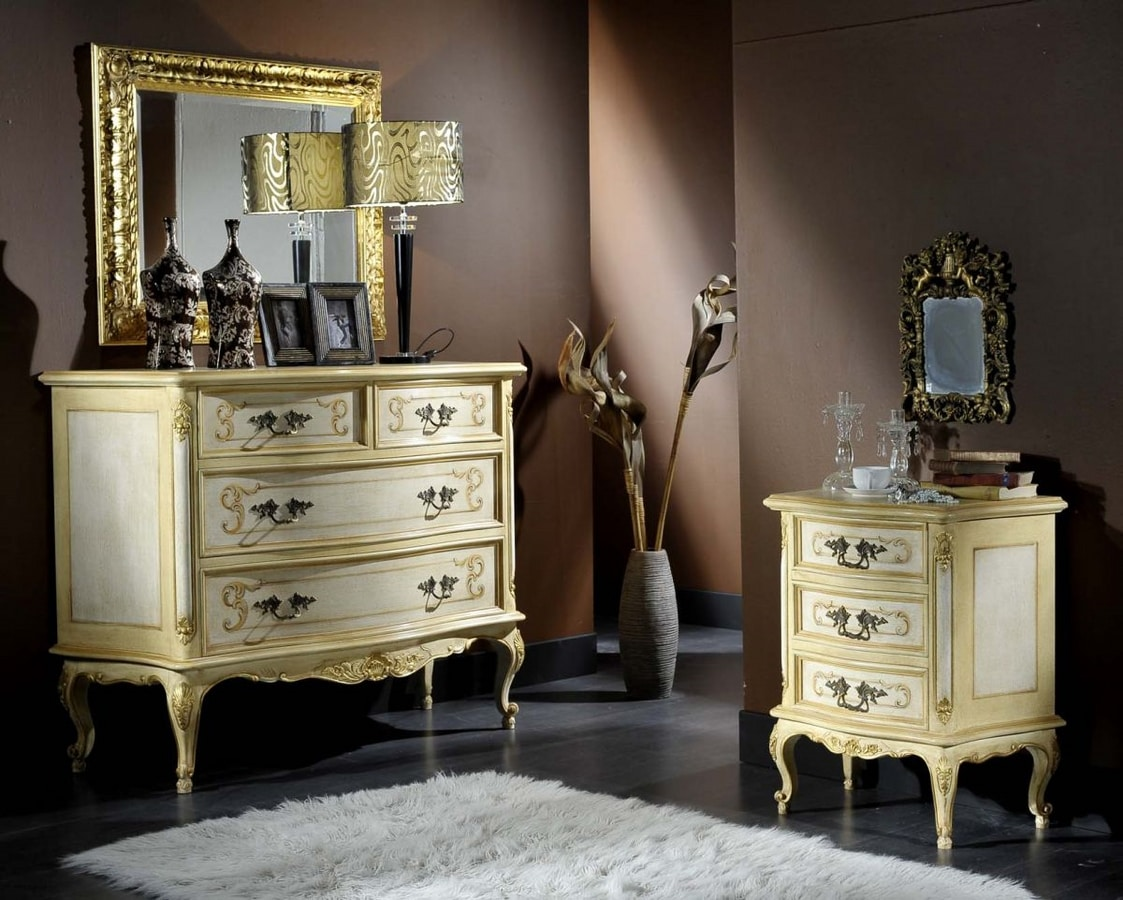 Barocco chest of drawers, Classic style chest of drawers in briar