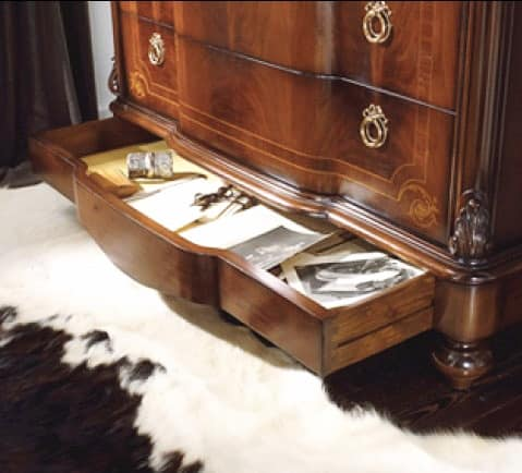 Brahms flap door, Inlaid chest of drawers with flap, top in Real Yellow marble