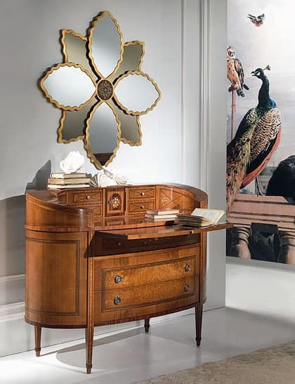 C129 Ellittico chest of drawers, Classic luxury Dresser, elliptical, with desk