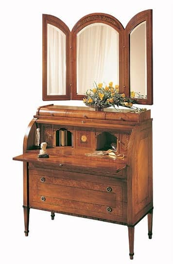 C179 Renoir bureau, Bureau with flap, in solid walnut, classic luxury style