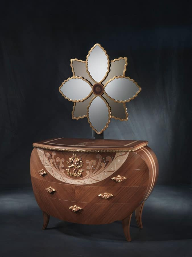 CO18 Vanity chest of drawers, Dresser with mirror, walnut, gold leaf decorations and copper