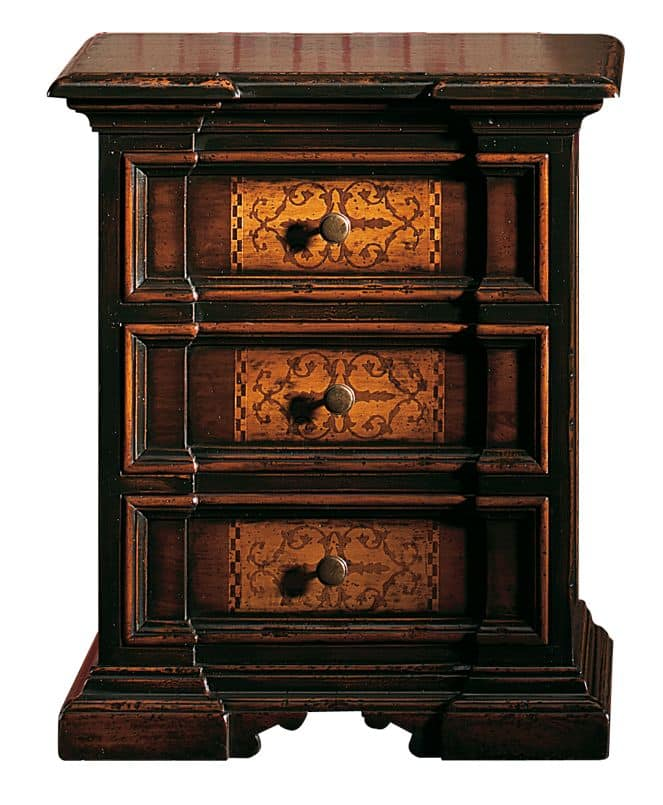 Cinigliano ME.0753, Bedside table '700 Italian, with inlaid, for hotels