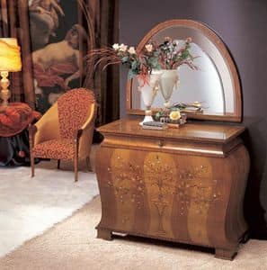 CO05 Floreale chest of drawers, Dresser in solid curved wood, inlaid in various materials