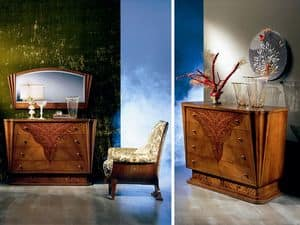CO07 Fusion, Classic luxury Dresser in solid wood, inlaid lace
