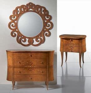 CO09 Novecento, Classic wooden dresser, wavy lines, for villas