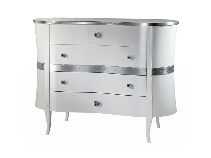 CO10 Novecento lacquered chest of drawers, Dresser lacquered white, wavy lines, for hotel rooms