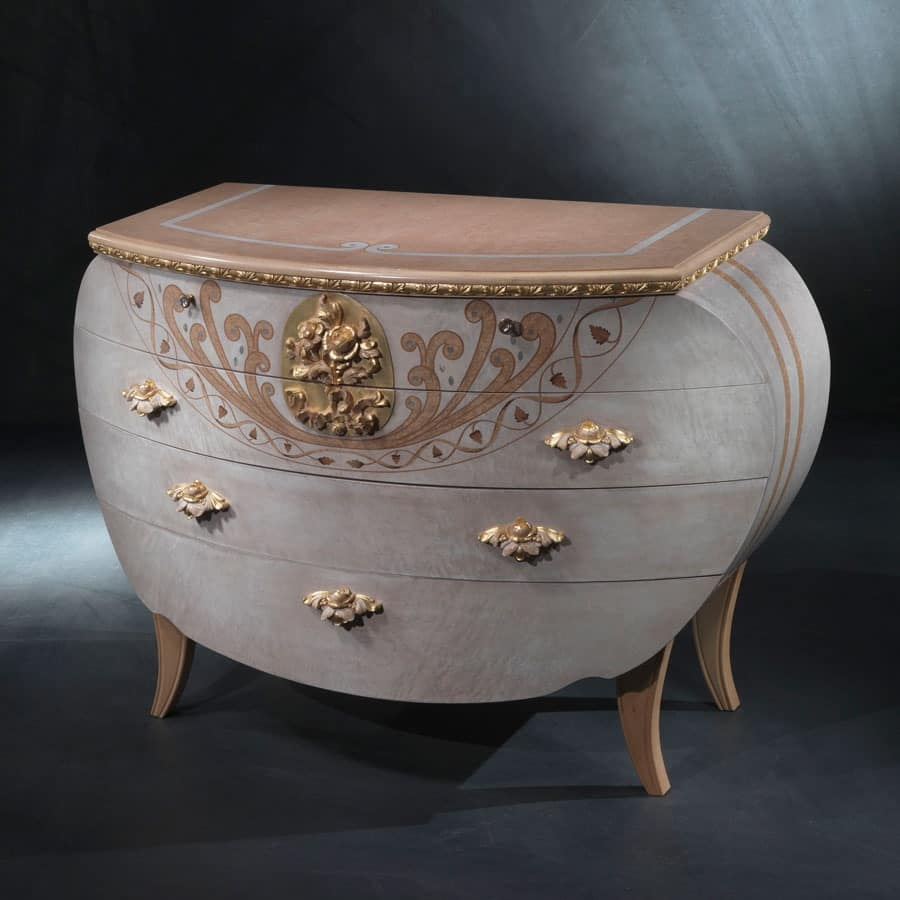 CO17 Vanity chest of drawers, Classic dresser, wood, gold leaf decorations