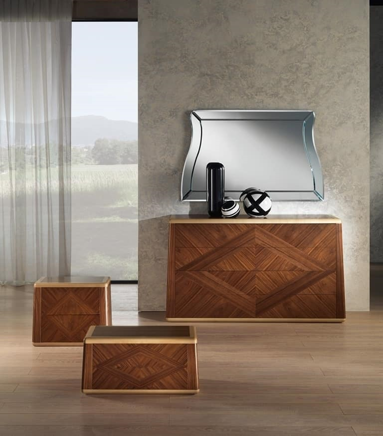 CO22 Contemporary Chest of Drawers, Walnut dresser for classic rooms
