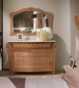 CO26B Charme  chest of drawers, Chest with marble top, inlaid wood