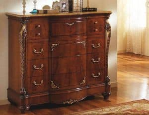 Corona chest of drawers, Classic dresser with wax finish, for hotels