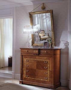 D 703, Cherry chest of drawers, inlaid, handmade