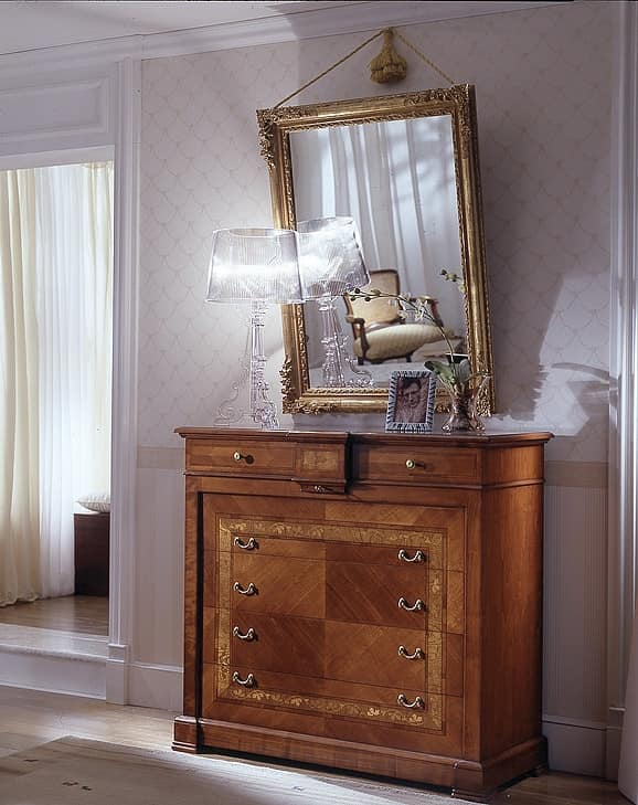 D 703, Cherry chest of drawers, inlaid, handmade