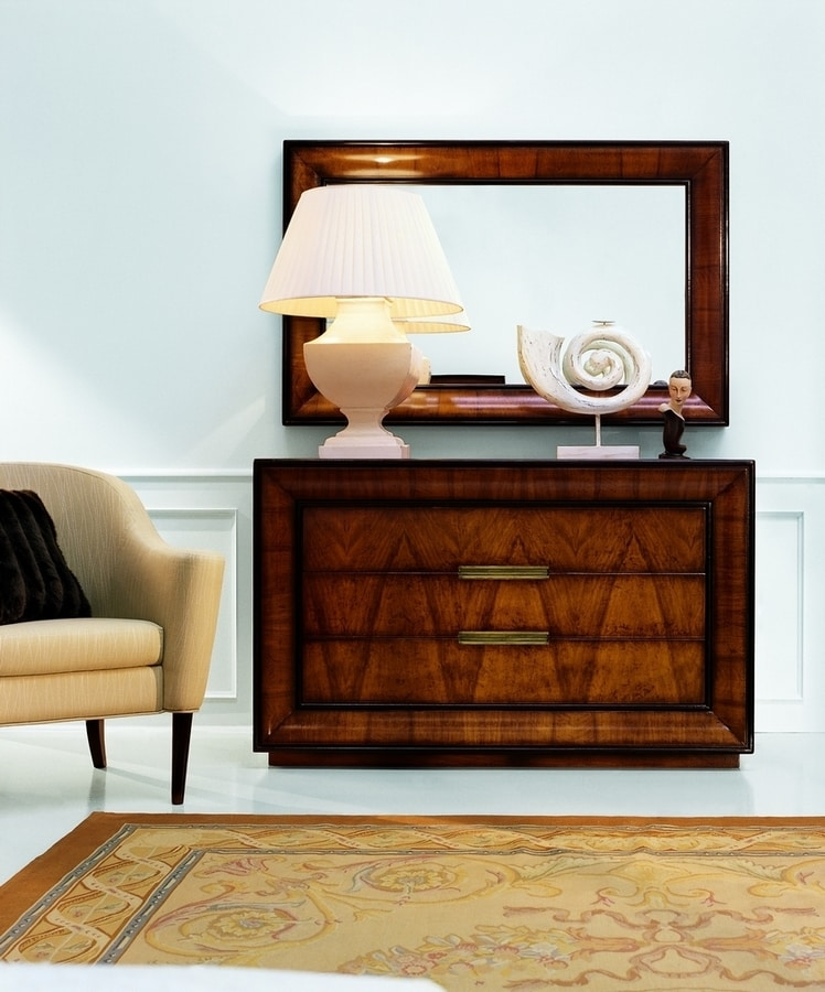 D'Orsay CH.0551, Chest of drawers, made of walnut wood, 3 drawers