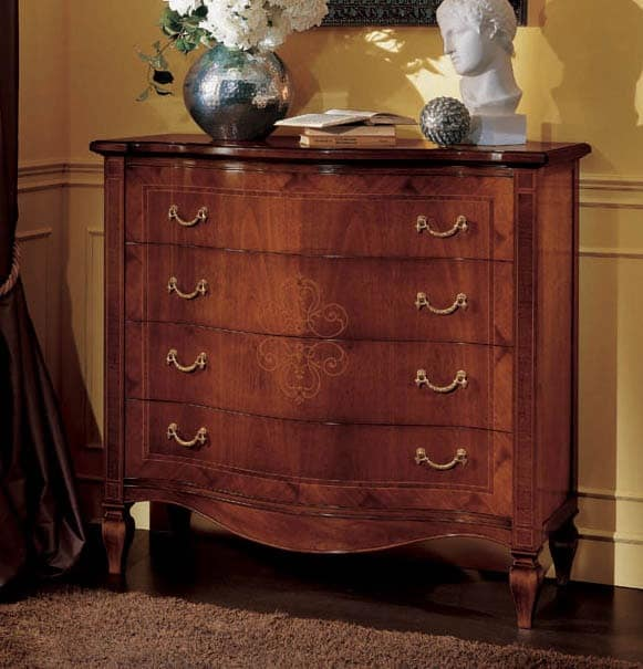 Da Vinci chest of drawers, Walnut dresser in classic luxury style