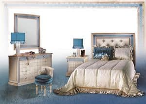 Dahalia C/424/C/2, Classical chest of drawers with mirror, Luxury bedroom fueniture