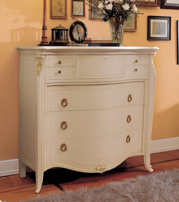 Elite chest of drawers lacquered, Dresser in classic luxury style, gold leaf details
