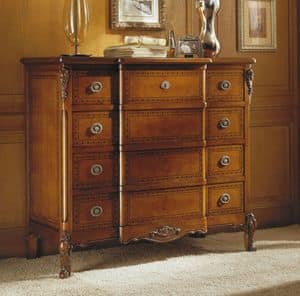 Fenice chest of drawers, Classic dresser in walnut, handmade carvings