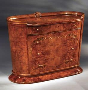 Flory chest of drawers, Chest of drawers in burr ash, inlays with colored woods