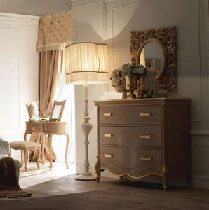 Fru-Fru chest of drawers, Classic style chest of drawers, with handcrafted decorations
