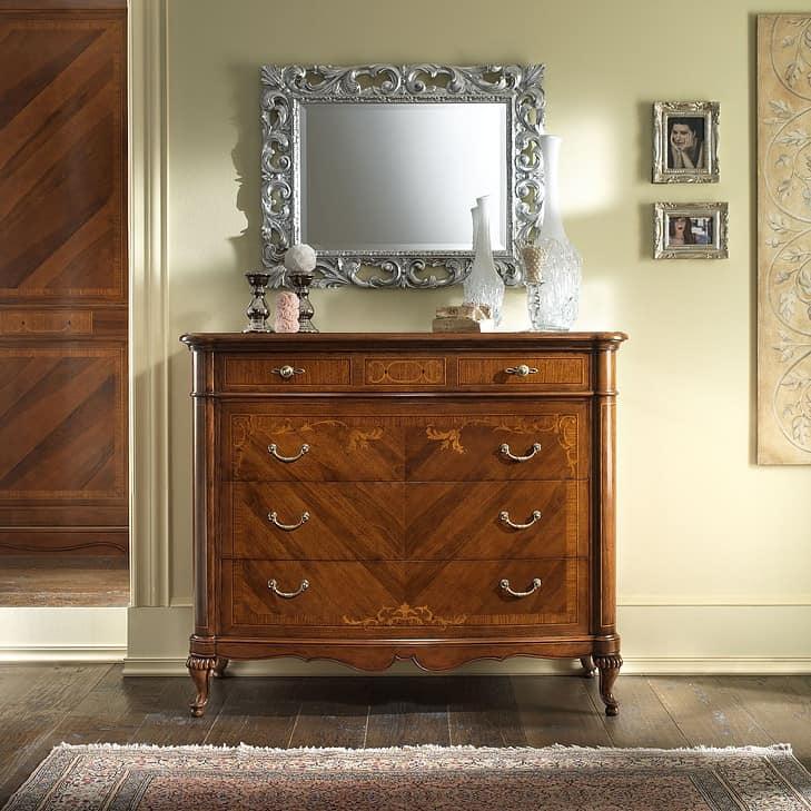G 702, Walnut chest of drawers, inlaid and veneered, 4 drawers