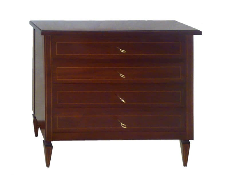 Goldsmith, Chest of drawers in solid mahogany, hand carved